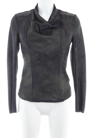 Zara Kurtka z imitacji skóry czarny-ciemnozielony W stylu casual