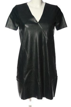 Zara Kunstlederkleid schwarz-hellgrau Casual-Look