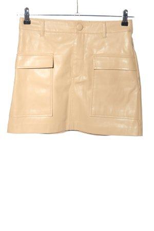 Zara Spódnica z imitacji skóry kremowy W stylu casual