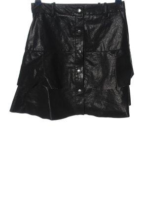 Zara Spódnica z imitacji skóry czarny W stylu casual