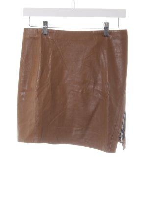 Zara Spódnica z imitacji skóry cognac-czarny