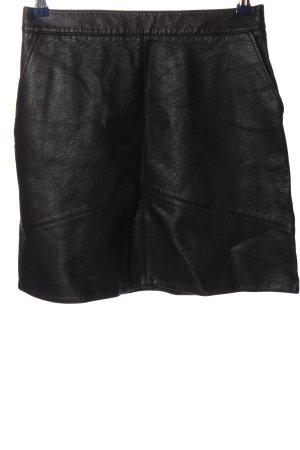 Zara Falda de cuero de imitación negro look casual