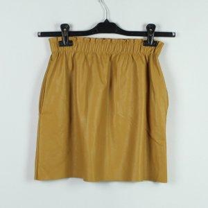 Zara Rok van imitatieleder licht Oranje-donkergeel Polyester