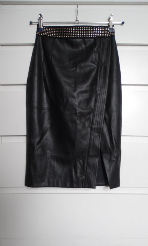 Zara Basic Faux Leather Skirt black-silver-colored mixture fibre