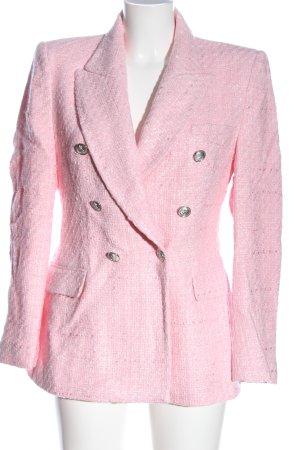 Zara Blazer corto rosa Patrón de tejido elegante