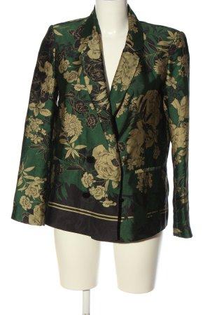 Zara Klassischer Blazer grün-creme Blumenmuster Elegant
