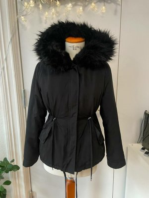 Zara Outerwear Futrzana kurtka czarny