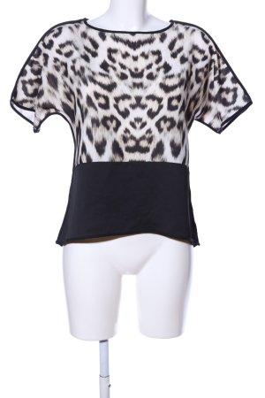 Zara Kurzarm-Bluse schwarz-weiß Animalmuster Casual-Look