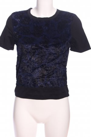 Zara Kurzarm-Bluse blau-schwarz Casual-Look