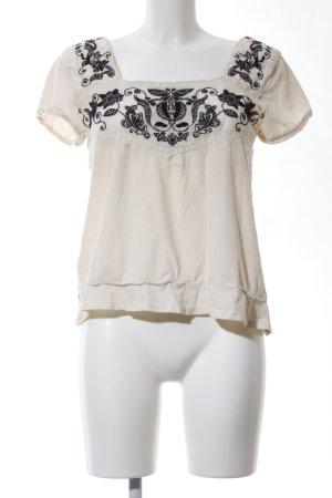 Zara Kurzarm-Bluse wollweiß-schwarz abstraktes Muster Casual-Look