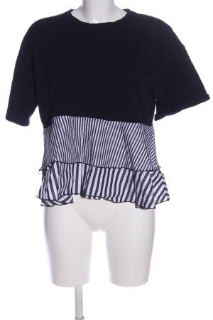 Zara Kurzarm-Bluse schwarz-weiß Streifenmuster Casual-Look