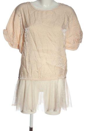 Zara Bluzka z krótkim rękawem kremowy Elegancki
