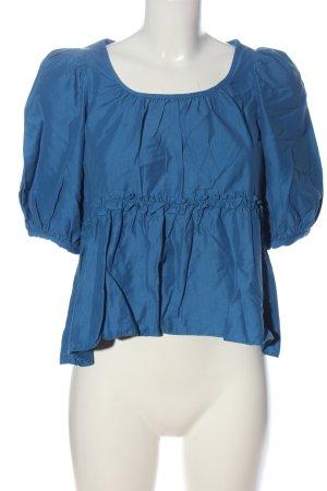Zara Kurzarm-Bluse blau Casual-Look