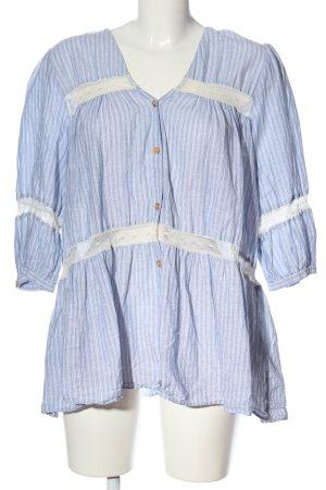 Zara Kurzarm-Bluse blau-weiß Streifenmuster Casual-Look