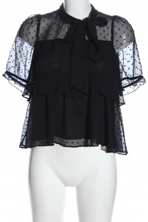 Zara Kurzarm-Bluse schwarz Punktemuster Casual-Look