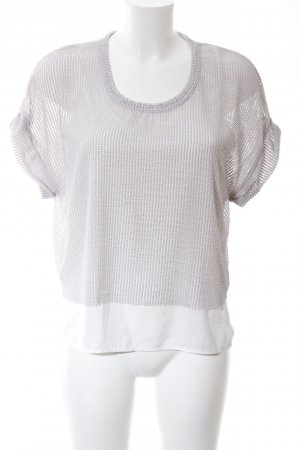 Zara Kurzarm-Bluse hellgrau-weiß Streifenmuster Casual-Look