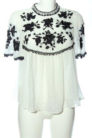 Zara Kurzarm-Bluse weiß-schwarz Blumenmuster Casual-Look