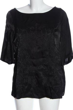 Zara Kurzarm-Bluse schwarz Blumenmuster Elegant