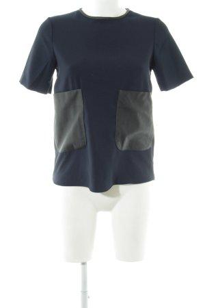 Zara Kurzarm-Bluse dunkelblau Casual-Look