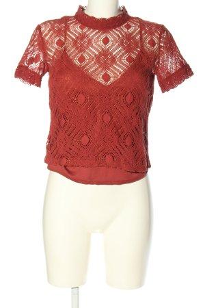 Zara Blouse à manches courtes rouge style décontracté