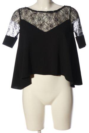 Zara Kurzarm-Bluse schwarz Elegant
