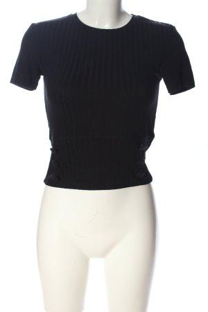 Zara Kurzarm-Bluse schwarz Casual-Look