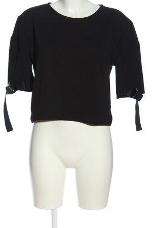 Zara Blouse met korte mouwen zwart casual uitstraling