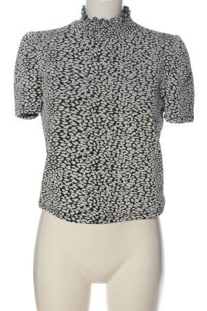 Zara Kurzarm-Bluse weiß-schwarz Casual-Look