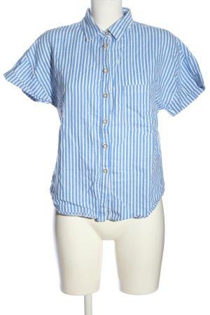 Zara Kurzarmhemd blau-weiß Streifenmuster Casual-Look