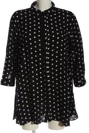 Zara Kurzarmhemd schwarz-weiß Punktemuster Business-Look