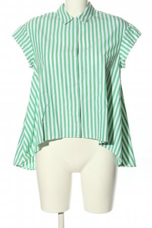 Zara Camisa de manga corta verde-blanco look casual