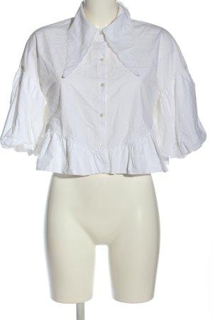 Zara Shirt met korte mouwen wit casual uitstraling