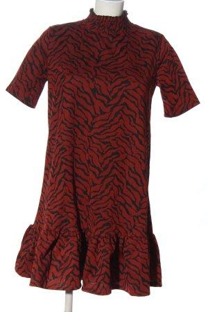Zara Kurzarmkleid rot-schwarz Allover-Druck Casual-Look