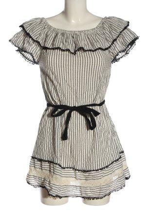 Zara Robe à manches courtes blanc-noir imprimé allover style décontracté
