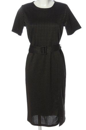 Zara Kurzarmkleid schwarz-khaki Karomuster Business-Look