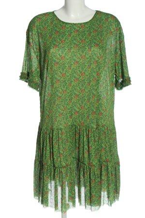 Zara Kurzarmkleid grün Allover-Druck Elegant