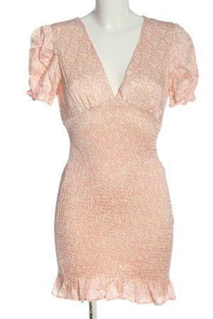 Zara Kurzarmkleid pink-wollweiß Allover-Druck Casual-Look
