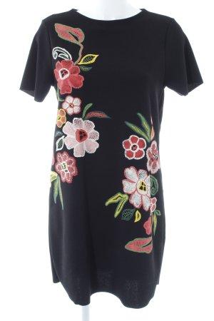 Zara Kurzarmkleid schwarz Blumenmuster Stickereiverzierung
