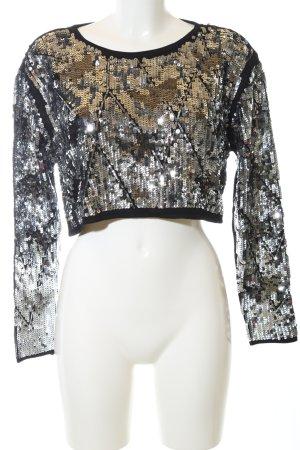 Zara Kurzarmpullover schwarz-silberfarben extravaganter Stil