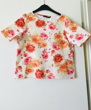 Zara kurze Shirt Top Bluse Blumenmuster floral