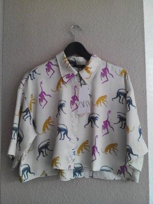 Zara kurze wunderschöne Bluse mit Äffchen Muster, Größe S, neu