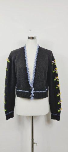 Zara / Kurzer Cardigan/ Größe M/ Schwarz mit bunten Stickereien
