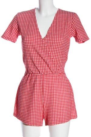 Zara Kurzer Jumpsuit rouge-blanc motif à carreaux style décontracté