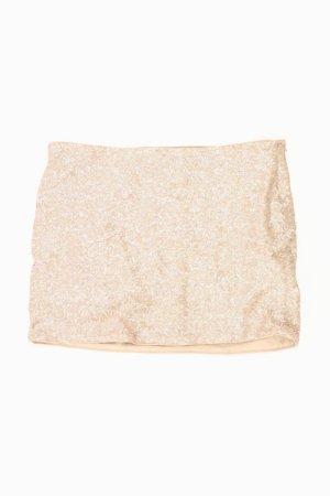 Zara Kurzer Rock Größe M mit Pailletten creme