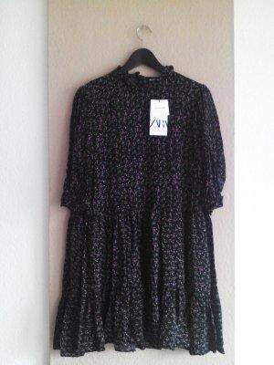 Zara kurzes geblümtes Kleid in schwarz- lila-grün, Größe L, neu