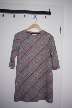 Zara kurzes Kleid Glencheck Karomuster grau rot schwarz weiß M NEUw