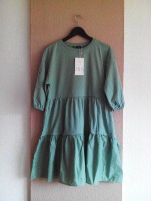 Zara kurzes Kleid in hellgrün aus 100% Baumwolle, Größe S, neu