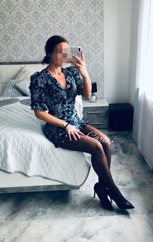 Zara kurzes Kleid Mini Rüschen Paisley Mint Blau Chiffon Bodycon Blogger Luxus - Gr. M/L (38/40)