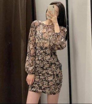 Zara kurzes Kleid mit Print und Lamefaden in S
