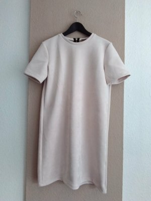 Zara kurzes T-Shirt-Kleid in nude, Veloursleder-Optik, Größe M neu